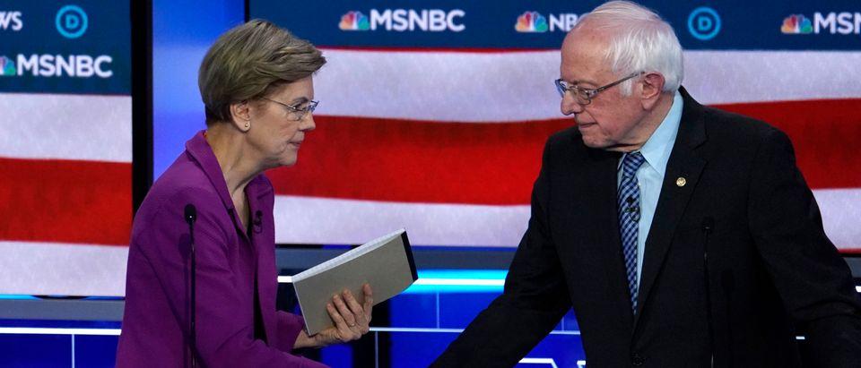 Senator Warren shakes hands with Senator Sanders at the conclusion of the ninth Democratic 2020 U.S. Presidential candidates debate in Las Vegas Nevada, U.S.