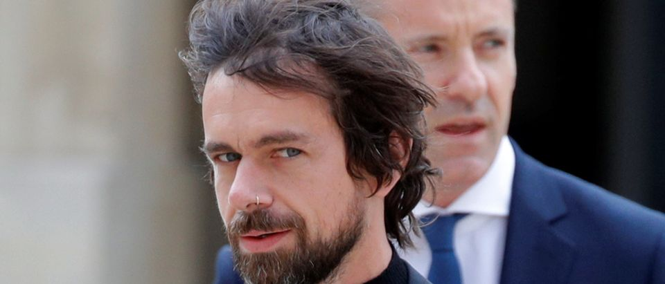 Twitter CEO Jack Dorsey arrives for a meeting at the Elysee Palace in Paris