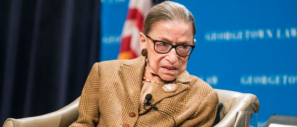 Justice Ruth Bader Ginsburg speaks at the Georgetown University Law Center on Feb. 10, 2020. (Sarah Silbiger/Getty Images)