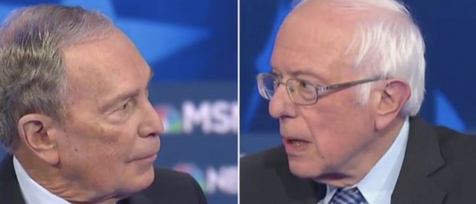 Mike Bloomberg and Bernie Sanders fought over taxes during the Democratic debate. (Screenshot MSNBC)