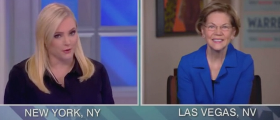 "Meghan McCain speaks with Sen. Elizabeth Warren on ""The View."" Screen Shot/ABC"