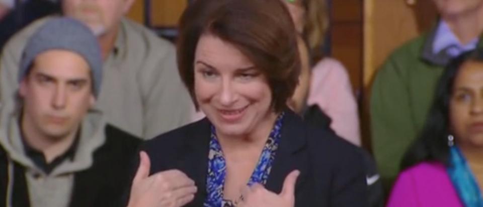Sen. Amy Klobuchar appears on a Fox News town hall. Screen Shot/Fox News