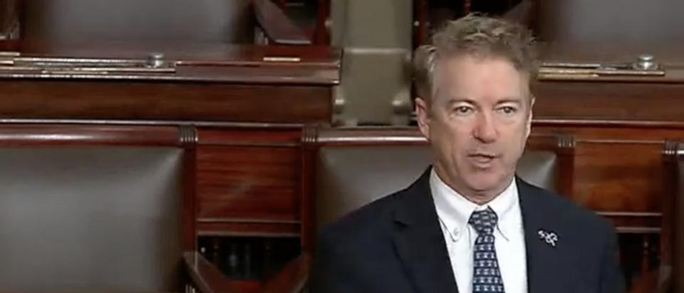 Sen. Rand Paul on Senate floor mentions alleged whistleblower's name (Screenshot/C-Span)