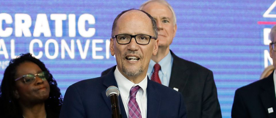 Chair of the Democratic National Committee Tom Perez speaks during a press conference at the Fiserv Forum in Milwaukee, Wisconsin, on March 11, 2019, to announce the selection of Milwaukee as the 2020 Democratic National Convention host city. (Photo: KAMIL KRZACZYNSKI/AFP via Getty Images)