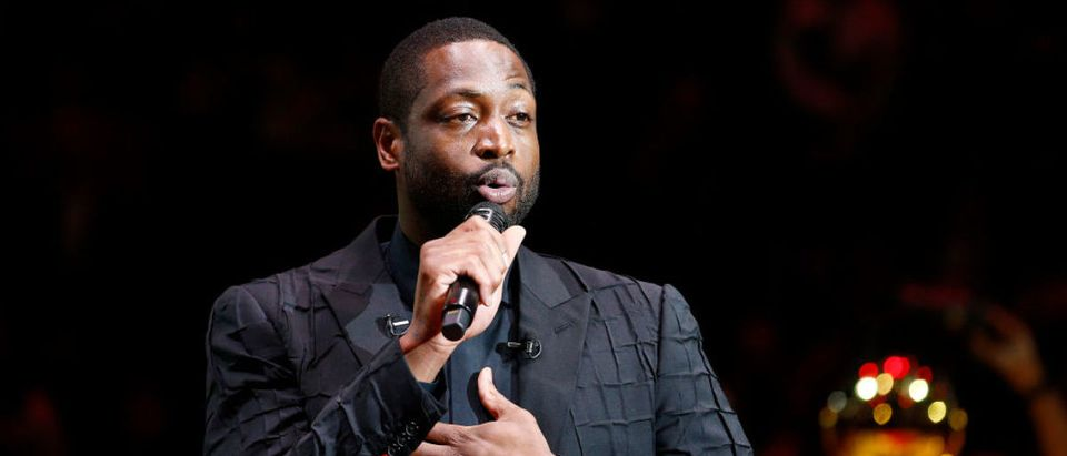 MIAMI, FLORIDA - FEBRUARY 22: Former Miami Heat player Dwyane Wade addresses the crowd during his jersey retirement ceremony at American Airlines Arena on February 22, 2020 in Miami, Florida. (Photo by Michael Reaves/Getty Images)