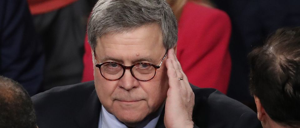 Attorney General William Barr arrives at the State of the Union address in the chamber of the U.S. House of Representatives on Feb. 4, 2020 in Washington, D.C. (Photo by Drew Angerer/Getty Images)