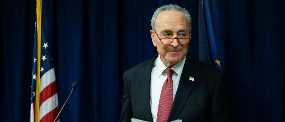 Senate Minority Leader Chuck Schumer (D-NY) exits after speaking with the media about impeachment trial at this office in Manhattan on February 6, 2020 in New York City. (Eduardo Munoz Alvarez/Getty Images)