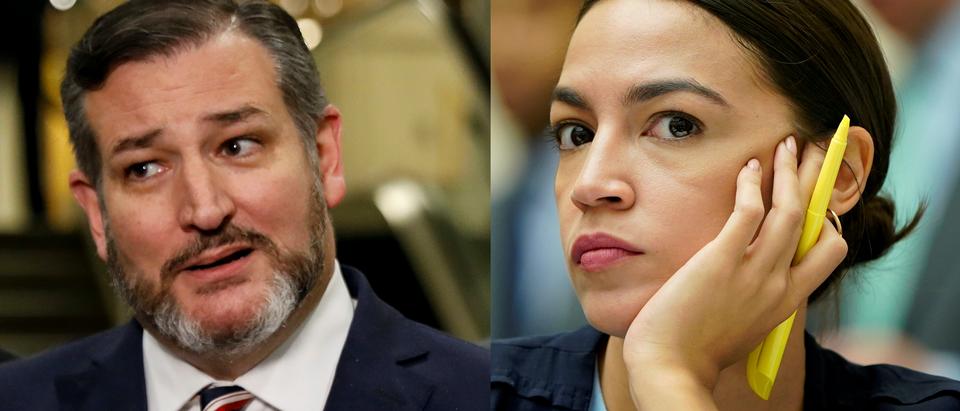 Texas Sen. Ted Cruz. REUTERS/Brendan McDermid/New York Rep. Alexandria Ocasio-Cortez. REUTERS/Joshua Roberts
