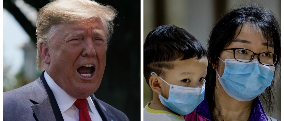 Donald Trump, Chinese citizens wearing virus masks (Getty Images)