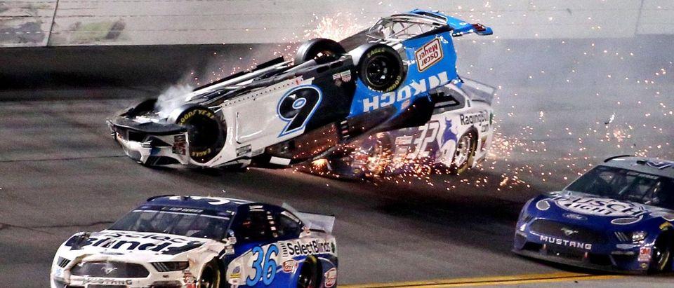 Feb 17, 2020; Daytona Beach, Florida, USA; NASCAR Cup Series driver Ryan Newman (6) wrecks during the Daytona 500 at Daytona International Speedway. Mandatory Credit: Peter Casey-USA TODAY Sports