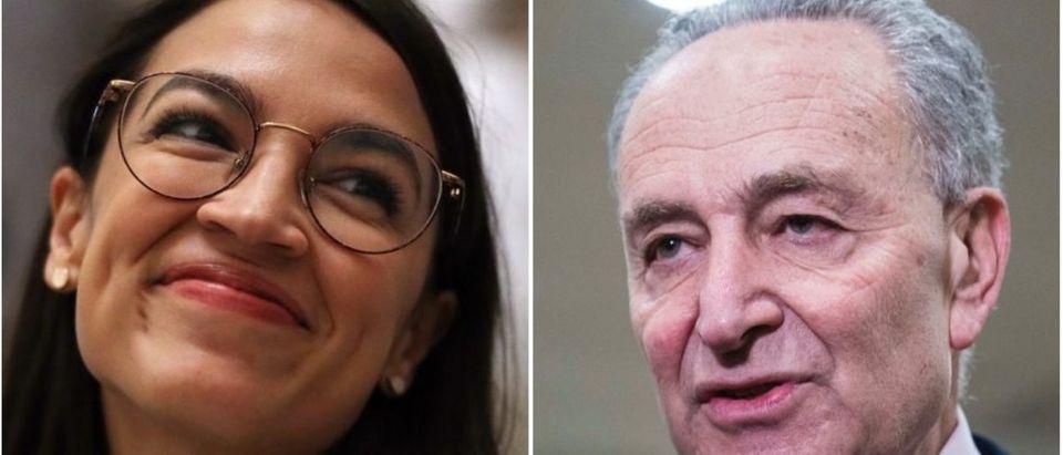 President Trump predicted Alexandria Ocasio-Cortez will beat Chuck Schumer in a future Senate run. (Alex Wong/Getty Images, Sarah Silbiger/Getty Images)