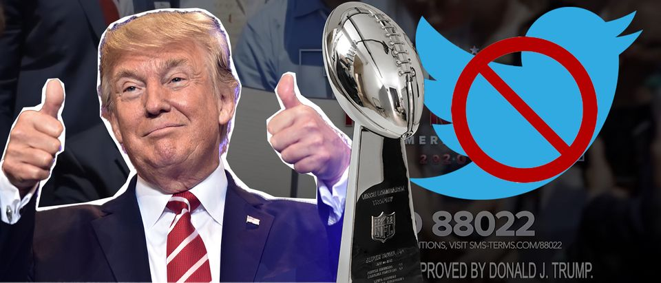 Donald Trump, Twitter bird, Super Bowl trophy (Getty Images, Daily Caller)