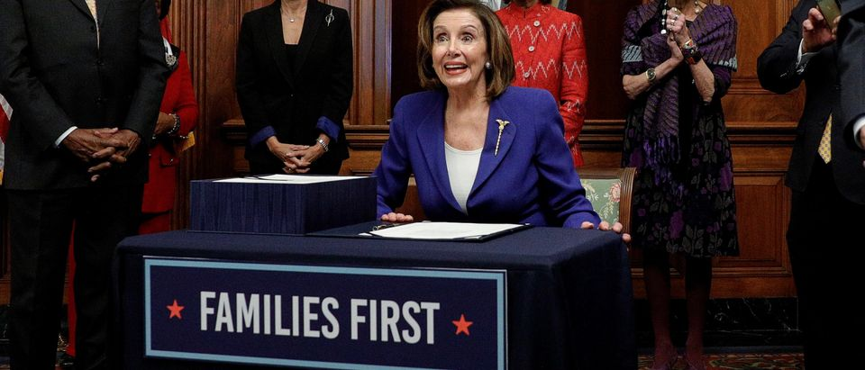 House Speaker Pelosi holds coronavirus aid bill signing ceremony at the U.S. Capitol in Washington