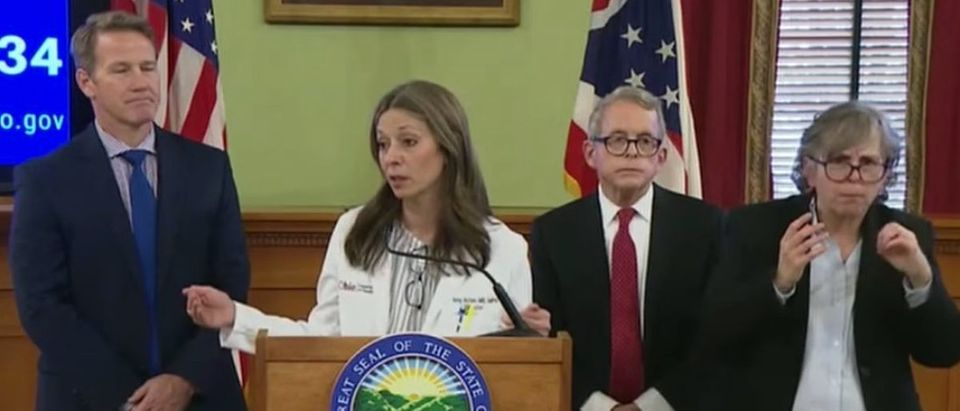 Dr. Amy Acton (Center-left) and Ohio Gov. Mike DeWine (Center-right) speak at a press conference about coronavirus, March 12, 2020. (YouTube screen capture/Fox News)