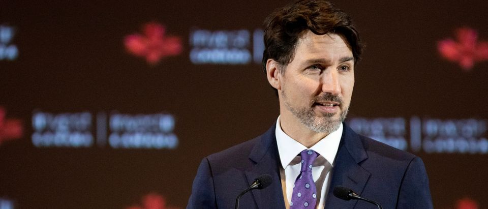 Canada's Prime Minister Justin Trudeau speaks during a reception at PDAC in Toronto