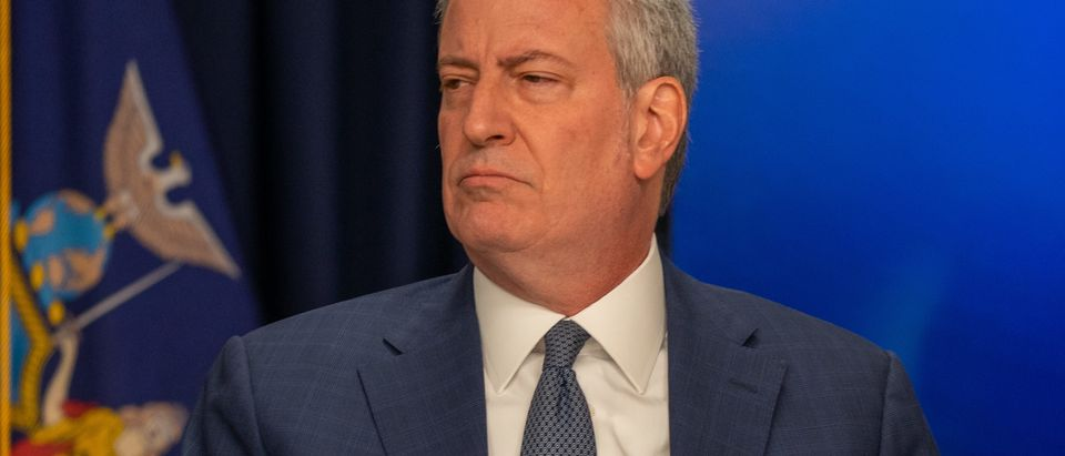 """NEW YORK, NY - MARCH 2: New York City Mayor Bill DeBlasio speaks during a news conference on the first confirmed case of COVID-19 in New York on March 2, 2020 in New York City. A female health worker in her 30s who had traveled in Iran contracted the virus and is now isolated at home with symptoms of COVID-19, but is not in serious condition. Cuomo said in a statement that the patient """"has been in a controlled situation since arriving to New York."""" (Photo by David Dee Delgado/Getty Images)"""