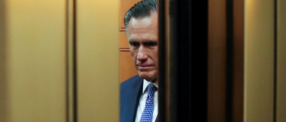 U.S. Senator Mitt Romney rides in elevator to Senate floor ahead of final votes in Senate impeachment trial of President Trump in Washington
