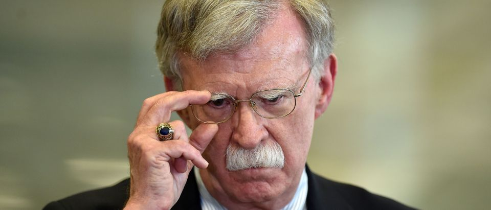 US National Security Advisor John Bolton answers journalists questions after his meeting with Belarus President in Minsk on August 29, 2019. (SERGEI GAPON/AFP via Getty Images)