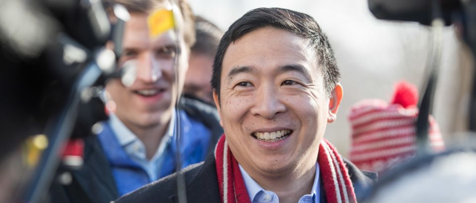 HOPKINTON, NH - FEBRUARY 09: Democratic presidential candidate Andrew Yang is interviewed outside of Hopkinton Town Hall following a campaign event on February 9, 2020 in Hopkinton, New Hampshire. The first in the nation primary is on Tuesday, February 11. (Photo by Scott Eisen/Getty Images)