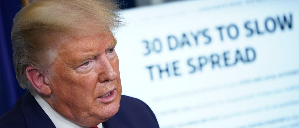 """US President Donald Trump speaks during the daily briefing on the novel coronavirus, COVID-19, in the Brady Briefing Room at the White House on March 31, 2020, in Washington, DC. - Trump on Tuesday warned of a """"very painful"""" two weeks ahead as the United States wrestles with a surge in coronavirus cases. (Photo by MANDEL NGAN / AFP) (Photo by MANDEL NGAN/AFP via Getty Images)"""