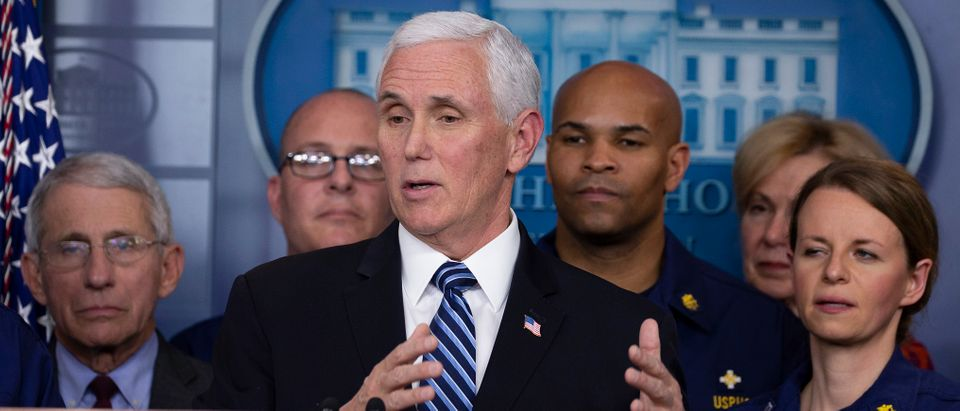 WASHINGTON, DC - MARCH 15: Vice President Mike Pence speaks to the media in the press briefing room at the White House on March 15, 2020 in Washington, DC. The United States has surpassed 3,000 confirmed cases of the coronavirus, and the death toll climbed to at least 61, with 25 of the deaths associated with the Life Care Center in Kirkland, Washington. (Photo by Tasos Katopodis/Getty Images)