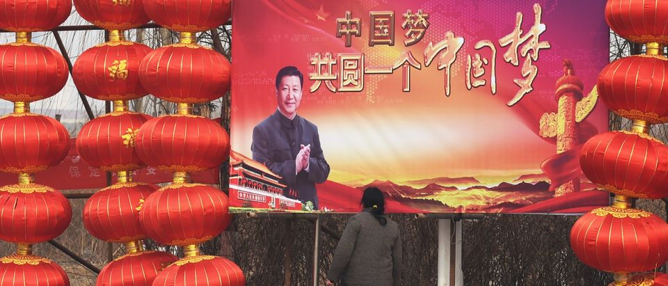 A woman stops to look at a billboard featuring a photo of Chinese President Xi Jinping beside lantern decorations for the Lunar New Year in Baoding, China's northern Hebei province on February 24, 2015. (GREG BAKER/AFP via Getty Images)