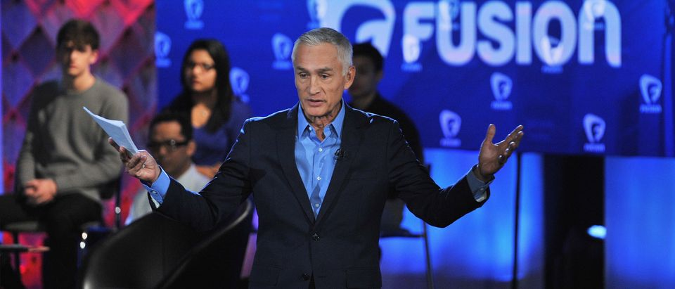 Journalist Jorge Ramos pictured onstage during the FUSION presents the Brown & Black Democratic Forum at Drake University on January 11, 2016 in Des Moines, Iowa. (Fernando Leon/Getty Images for Fusion)