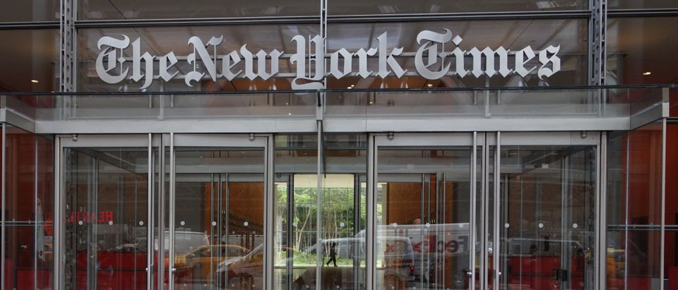The west entrance of the New York Times building at 620 Eighth Ave. April 28, 2016 in New York. (DON EMMERT/AFP via Getty Images)