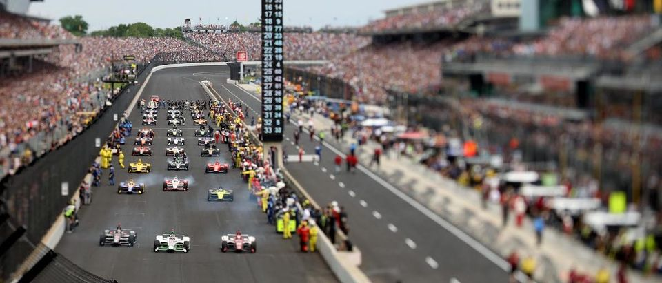 May 26, 2019; Indianapolis, IN, USA; (Editors note: tilt shift lens used to create this image) Driver start during the 103rd Running of the Indianapolis 500 at Indianapolis Motor Speedway. Mandatory Credit: Brian Spurlock-USA TODAY Sports/ Reuters
