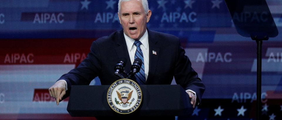 U.S. Vice President Mike Pence delivers remarks during the AIPAC convention at the Washington Convention Center in Washington, U.S., March 2, 2020. REUTERS/Tom Brenner