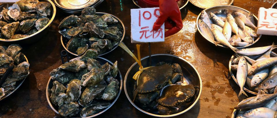 Fresh seafood on sale at a wet market is pictured in Hong Kong