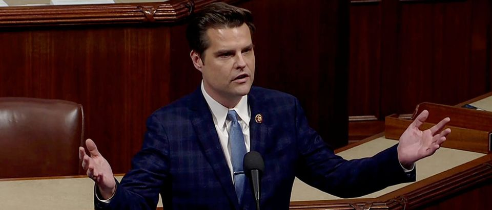 Rep. Matt Gaetz speaks ahead of a vote on impeachment against President Trump on Capitol Hill