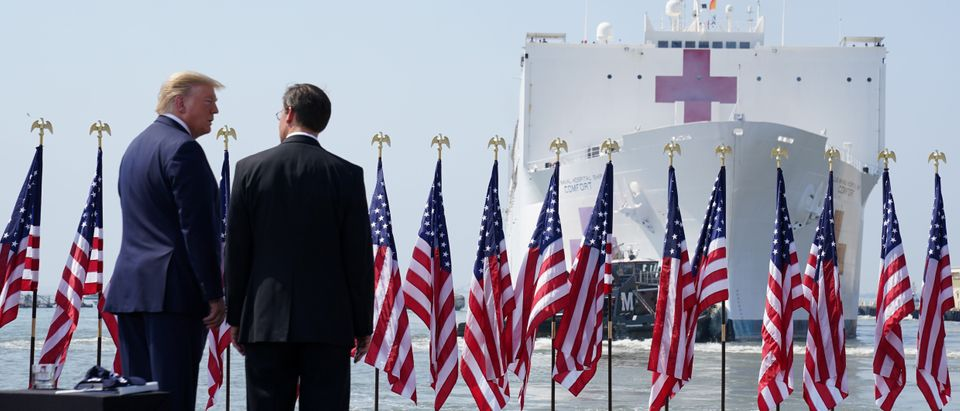 U.S. President Donald Trump participates in a send off for the Navy hospital ship USNS Comfort, in Norfolk