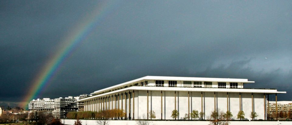 A rainbow appears over John F. Kennedy Center for Performing Arts after rains passed through Washington metropolitan area