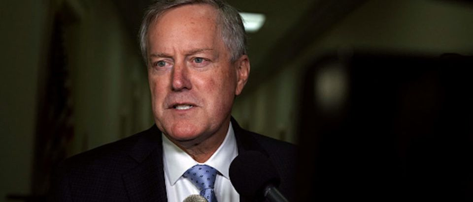 Rep. Mark Meadows (R-NC) speaks to members of the media as he arrives at the Rayburn House Office Building where former Federal Bureau of Investigation Director James Comey testifies