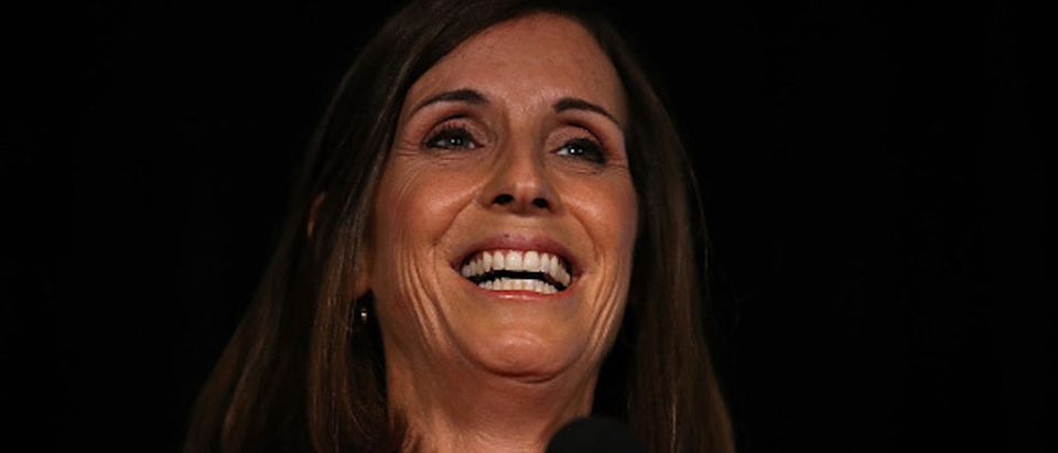 Rep. Martha McSally (R-AZ) speaks during her primary election night gathering at Culinary Drop Out at The Yard on August 28, 2018
