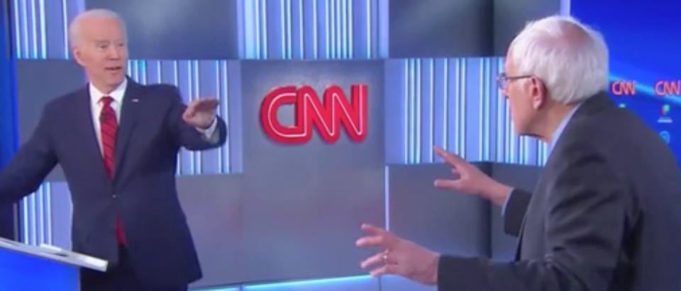 Joe Biden and Bernie Sanders square off in first one-on-one debate. Screenshot/CNN