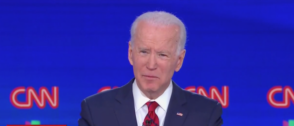 Joe Biden promised to have a female running mate during Sunday's Democratic debate. (Screenshot CNN)