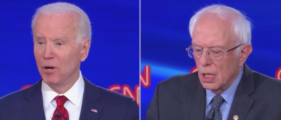 Joe Biden attacked Bernie Sanders over his praise of dictators during Sunday's Democratic debate. (Screenshot CNN)