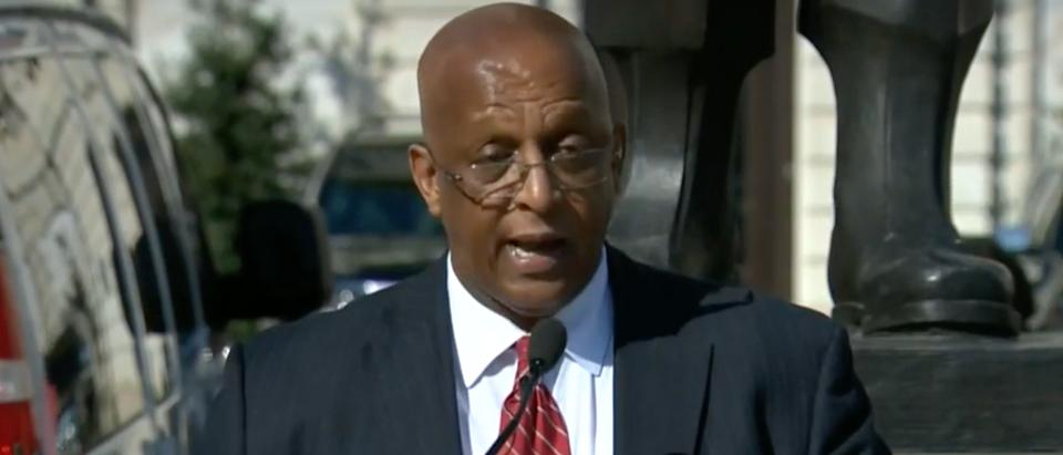 Baltimore Mayor Jack Young addresses the city. Screenshot/WJZ/CBS
