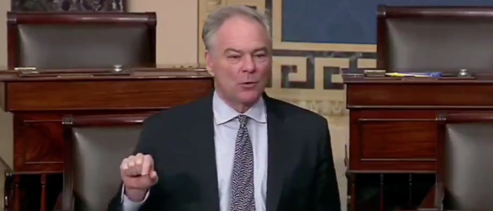 Sen. Tim Kaine delivers remarks from the Senate floor. Screenshot/@theHill