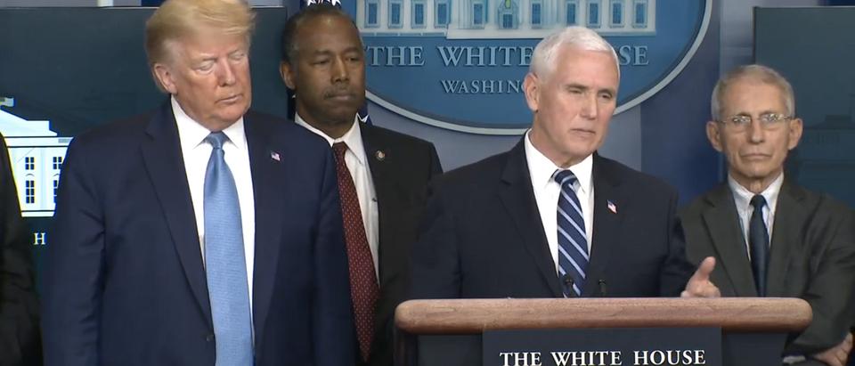 VP Mike Pence at a press briefing. Screenshot/Youtube)