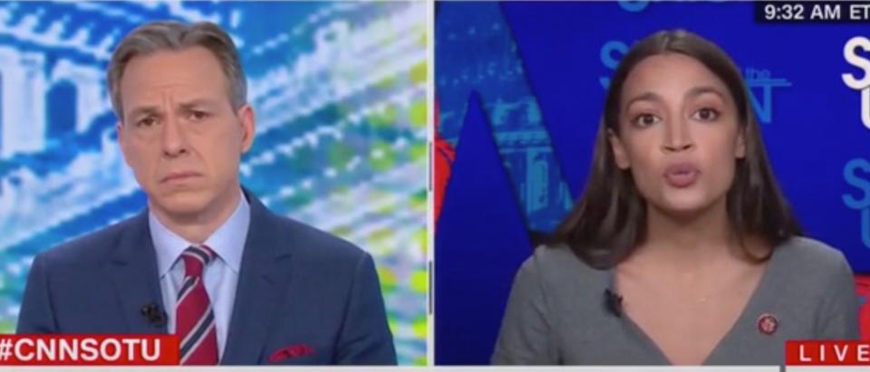 Jake Tapper speaks with New York Rep. Alexandria Ocasio-Cortez. Screenshot/CNN