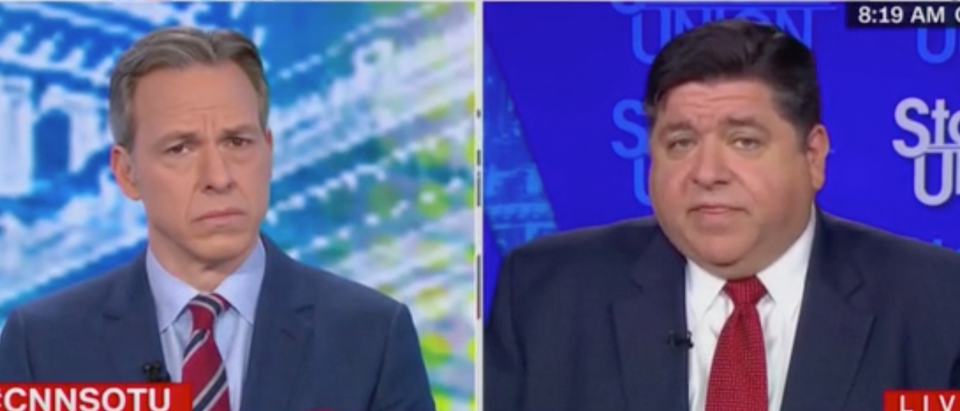 Jake Tapper speaks with Illinois Governor J.B. Pritzker. Screenshot/CNN