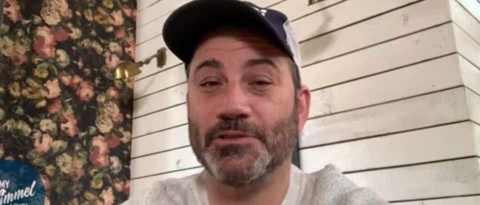 Jimmy Kimmel broadcasts from home. Screenshot/ABC
