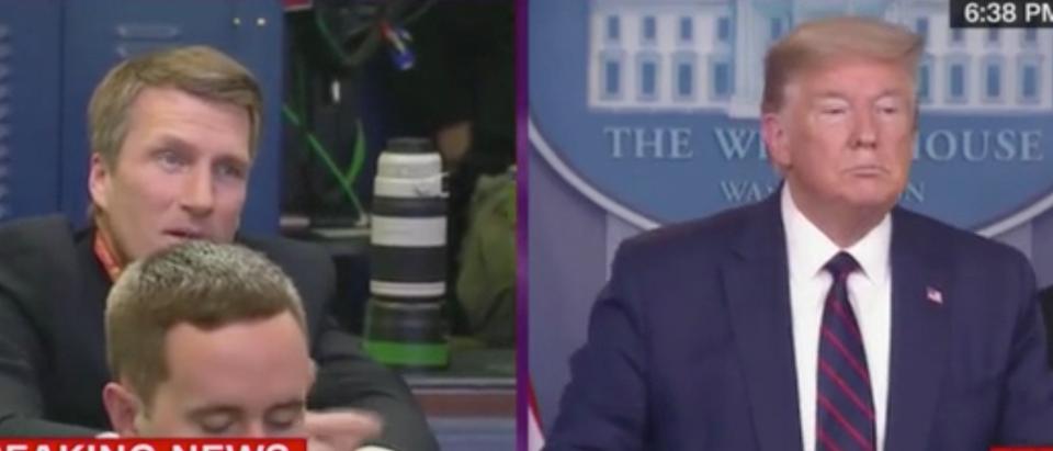 Donald Trump holds coronavirus press conference. Screenshot/CNN