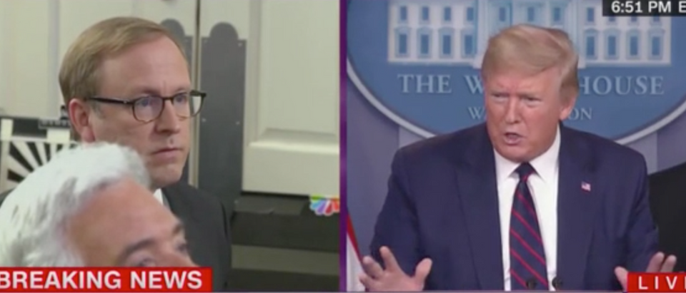 President Donald Trump takes a question from ABC reporter Jonathan Karl. Screenshot/CNN