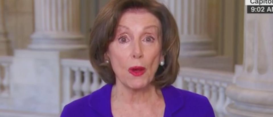 "House Speaker Nancy Pelosi appears on ""State of the Union."" Screenshot/CNN"