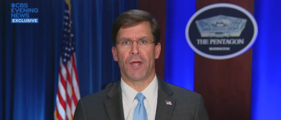 Mark Esper has not yet gotten around to reading the entire letter pleading for help sent by a Navy captain. (YouTube Screenshot/CBS News)