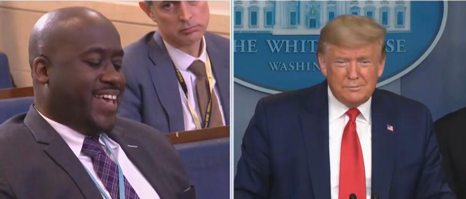 Trump trolls Bloomberg reporter (Fox News screengrab)